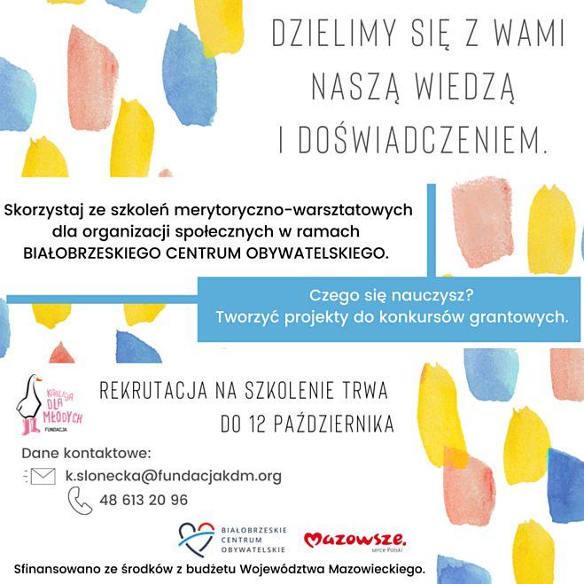 Zgłoszenia organizacji na szkolenie przyjmujemy do 12 października 2021 roku pod adresem mailowym: k.slonecka@fundacjakdm.org
