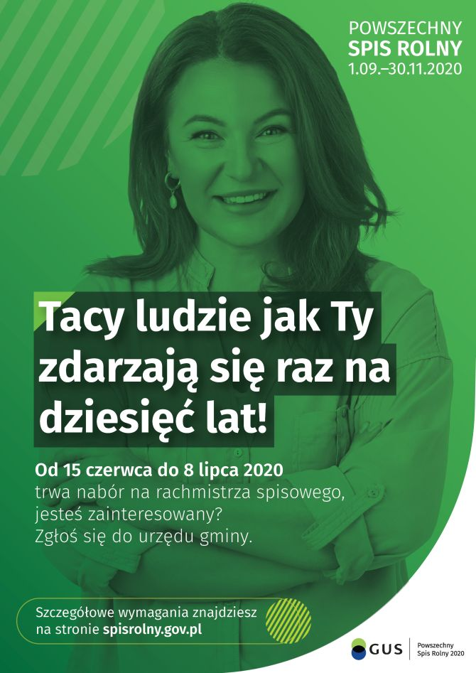 Od 15 czerwca do 8 lipca 2020 r. w urzędach gmin trwa nabór na rachmistrza do Powszechnego Spisu Rolnego 2020