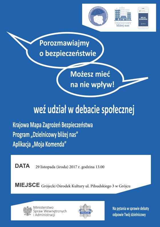 na niebieskim tle informacje o debacie