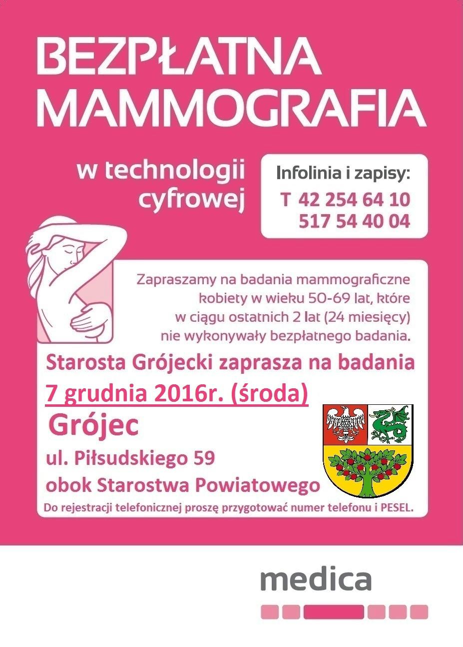 Bezpłatne badania mammograficzne - Grójec 7.12.2016 r. ul. Piłsudskiego 59
