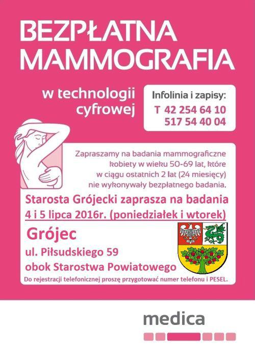 Starosta Grójecki zaprasza na badania mammograficzne 4 i 5 lipca 2016 r. w Grójcu ul. Piłsudskiego 59 obok Starostwa Powiatowego