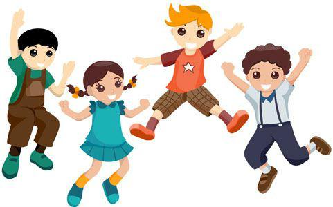 Czwórka skaczących dzieci